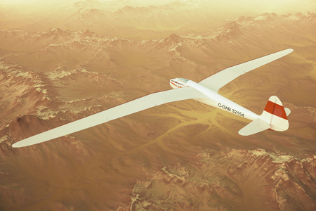 Sepia toned render of a sailplane soaring over snow covered mountains.