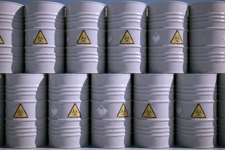 Wall of Dangerous Biohazard Waste Barrels.
