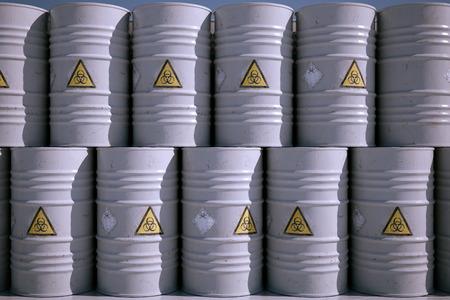 barell: Wall of Dangerous Biohazard Waste Barrels.