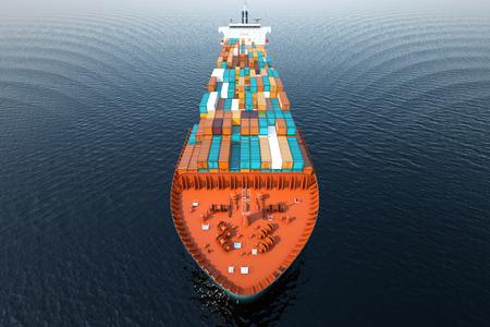 수송: CG 공중 바다에서 컨테이너 선박의 총.