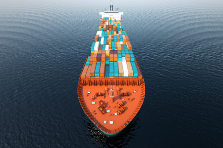 with ocean: CG Aerial shot of container ship in ocean.