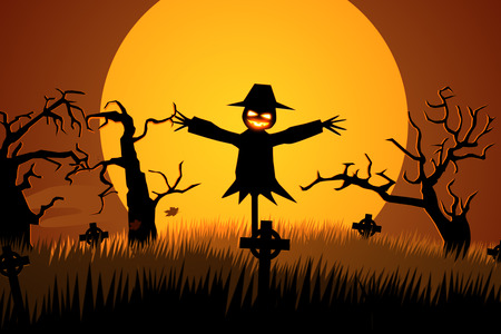 Scary Halloween Scarecrow In Graveyard Stock Photo