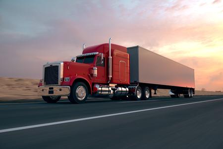 camion: 18 Camión de ruedas en la carretera durante el día. Vista lateral. Foto de archivo
