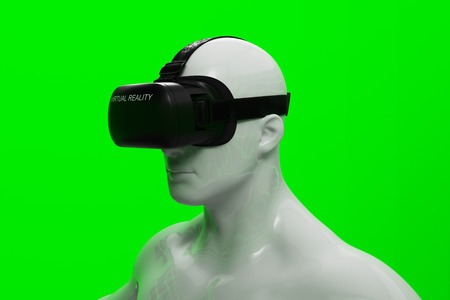 Virtual Reality Headset On White Mannequin.