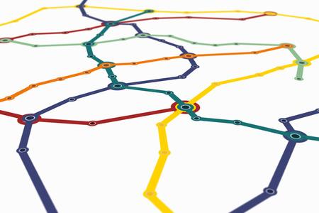 Plan de métro générique de grande ville. Grandir réseau de connexions de transport public.