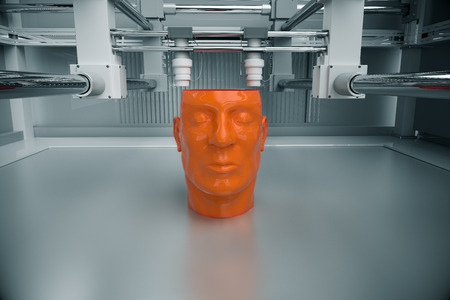 additive manufacturing: 3D Printinted Model Of Human Head Stock Photo