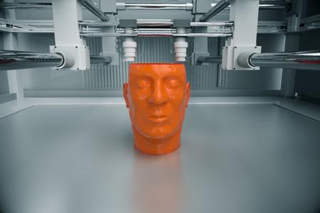 3D Printinted Model van het menselijk hoofd Stockfoto