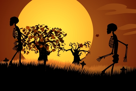 Silhouette Of Human Skeletons Walking In Spooky Graveyard At Halloween Night