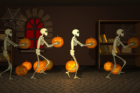 Group Of Human Skeleton Walking In Witch House With Pumpkin Lantern