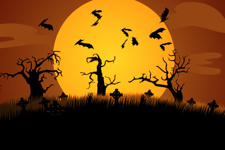 graves: A Creepy Graveyard Halloween Background Scene With Graves, Trees And Spooky Moonlit Sky