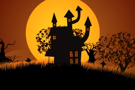 horror house: A Creepy Halloween Palace with Zombie Walking At Spooky House Stock Photo