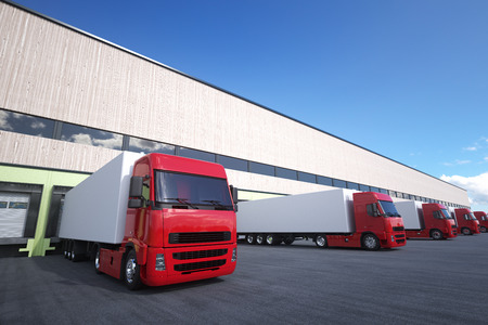 loading bay: Unloading cargo from truck to warehouse.
