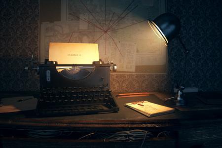 old desk: Chapter 1 Written On An Old Typewriter On Desk Stock Photo