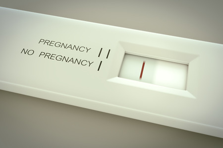Pregnancy test in action. One line in result window means not pregnant.