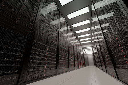 Data servers while working. LED lights are flashing. Can represent cloud computing, information storage, etc. or can be the perfect technology background