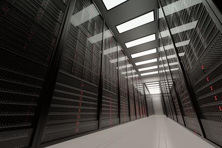 Servidores de datos mientras trabajan. Las luces LED parpadean. Puede representar la computación en nube, almacenamiento de información, etc., o puede ser el fondo de tecnología perfecta