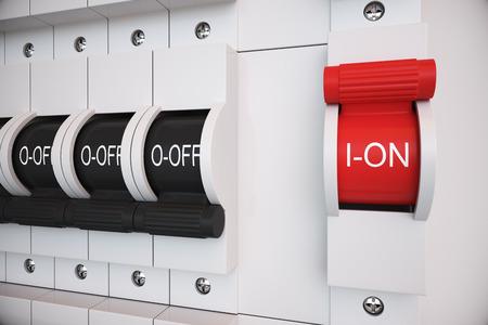 """신형 트립 스위치 퓨즈 박스. 모든 스위치는 """"ON""""위치에 있습니다. 전기, 전원, 퓨즈 관련. 스톡 콘텐츠"""