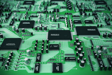 circuitry: Shot of integrated circuit board.