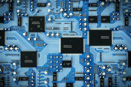 Ujęcie zintegrowanej płytce drukowanej. Zdjęcie Seryjne