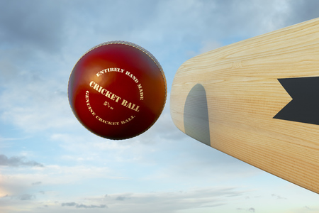 bate: Bate de cricket que golpea la bola Foto de archivo