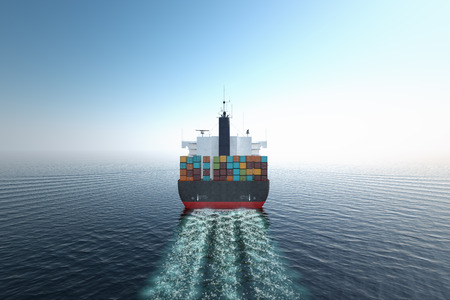 shipping: CG Aerial shot of container ship in ocean.