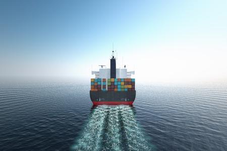 ozean: CG Luftaufnahme von Container-Schiff im Ozean.