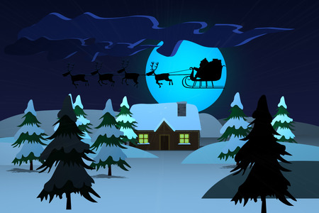 santaclaus: Silhouette Of Santa Riding On Reindeer Sledge With The Moon In The Background