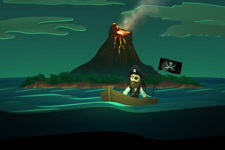 volcano mountain: Pirate On Boat In Calm Ocean With Volcano Mountain In Background