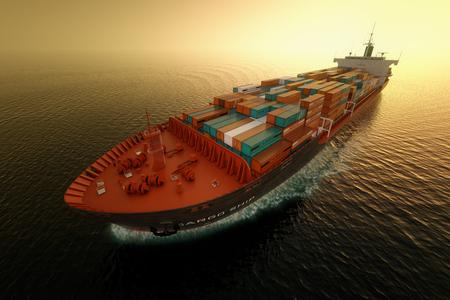 海でのコンテナー船の CG 空中ショット。