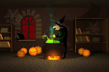 spooky house: Witch Preparing A Potion In Cauldron With Halloween Pumpkins In Spooky House Stock Photo