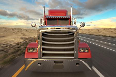 18 Truck koła na drodze w ciągu dnia. Przedni widok Zdjęcie Seryjne