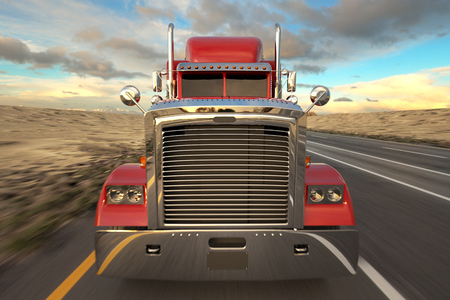 18 Wheel Truck on the road during the day. Front View