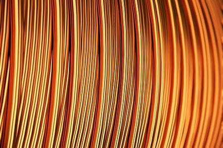 bare wire: Close up of the bare bright copper wire on the spool.