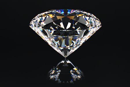 Centered view on beautiful, ideal passion cut diamond.Presentation of precious gem.