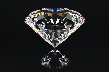 centered: Centered view on beautiful, ideal passion cut diamond.Presentation of precious gem.