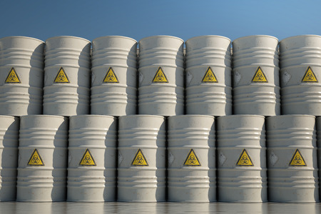 health and safety: Wall of Dangerous Biohazard Waste Barrels.