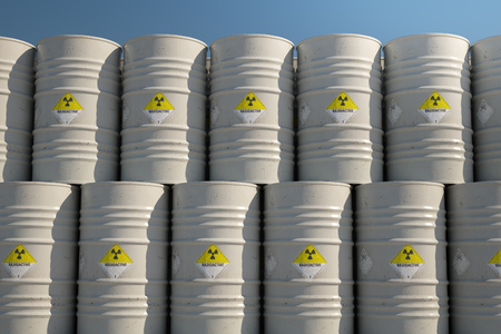 toxic waste: Pile Of Barrels With Toxic Waste During Sunny Day Stock Photo