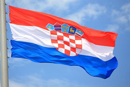 Flag of Croatia against the sky 免版税图像