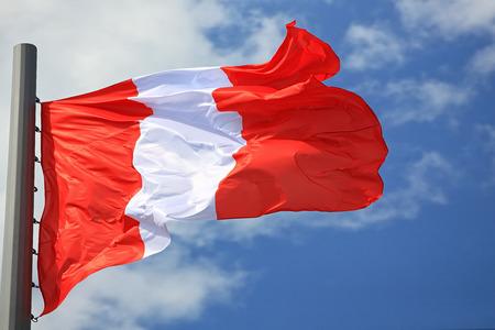 ancash: Flag of Peru against the sky