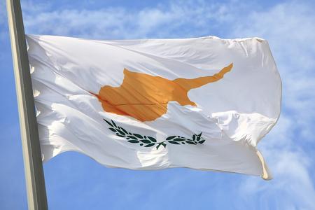 blu sky: The Cyprian flag against the blue sky