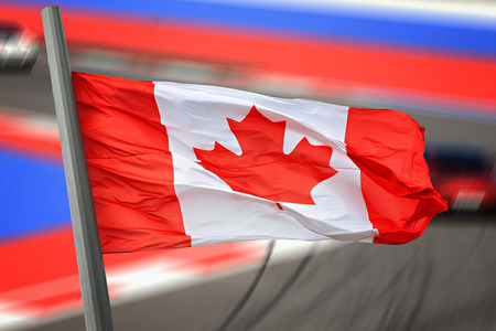 canadian flag: The Canadian flag against sports competition