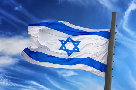 israeli: The Israeli flag against the blue sky
