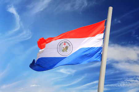 Paraguayan flag against the background of the blue sky 免版税图像