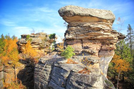 Ancient huge stones. Autumn