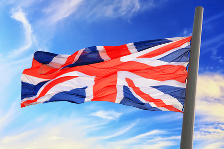 Flag of Great Britain against the background of the sky Stock fotó