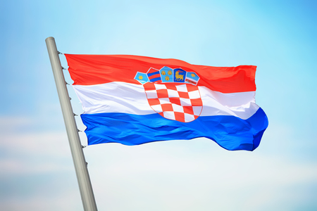 Flag of Croatia against the background of the sky