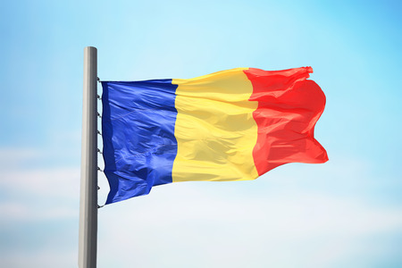 Flag of Romania against the background of the sky