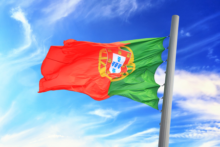 Flag of Portugal against the background of the sky
