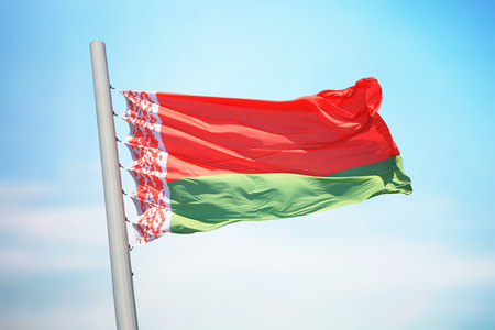 Flag of Belarus against the background of the sky 免版税图像