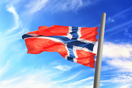 Flag of Norway against the background of the sky